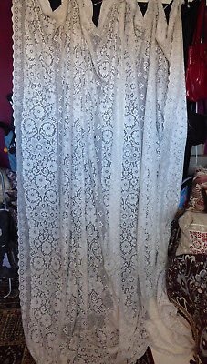 Antique/vintage pair long lace curtains (not nylon) as found F