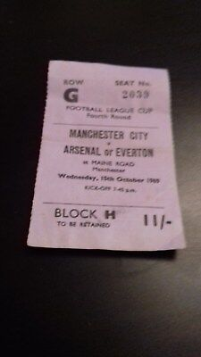 Manchester City  - Arsenal Or Everton League Cup 4Th  Round 1969-70 Ticket