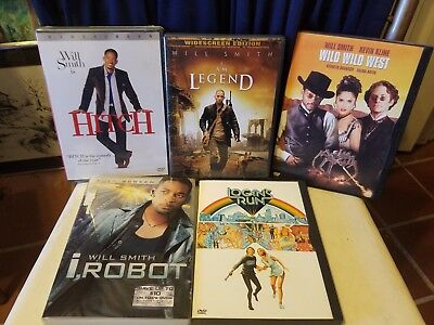 Will Smith Lot Of 4 Dvds Hitch(New Sealed), I Robot, I Am Legen Plus Logan's Run