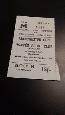 Manchester City - Honved Sport Club (Hungary) Ecwc 8Th Finals  1970-71 Ticket