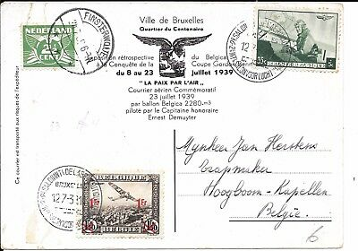 Belgium Gordon Bennett  Balloon  'belgica'   Flown Card 1939..