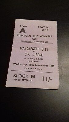 Manchester City - Sk Lierse  Ecwc 8Th Finals  1969-70  Ticket