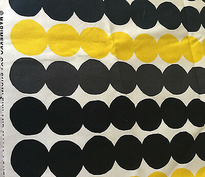 Marimekko Finland Rasymatto Fabric Maija Louekari Dots Black Yellow