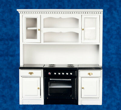 Dolls House Miniature 1:12th Scale Black and White Oven Unit With Cupboards