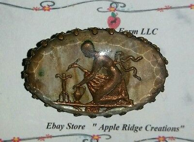 Antique reverse painted artist cameo broach , 1920's