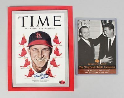 Stan Musial Signed & Inscr. TIME Magazine Cover & UD Card - COA