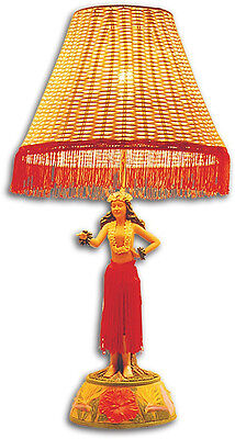 Hawaiian Hand Painted Hula Lamp Motion Dancing Poly Resin Base Rattan Shade 26""