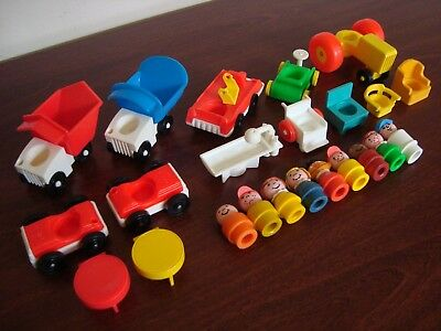 Vintage Fisher Price Little People LOT Wooden Plastic Figures Accessories Cars