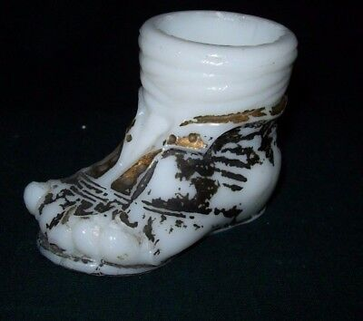 Very Unique Toothpick Holder - Milk Glass Decorated Foot