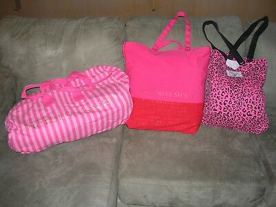 Victoria's Secret PINK Lot of 3 Large Shoulder Shopping Carrying Bags