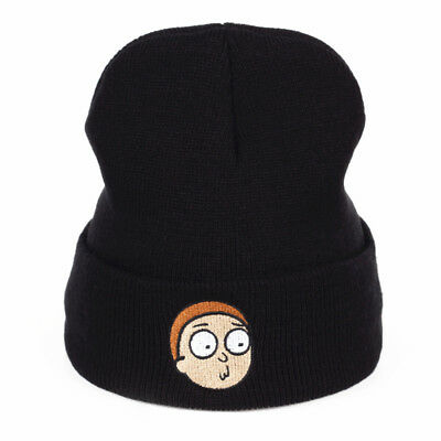 """Rick And Morty TV Series """"MORTY"""" BLACK KNIT EMBROIDERED CUFF BEANIE"""