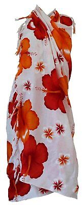 Siam Secrets White Floral Sarong Beach Wrap Pareo 5 Options Large Red Flower