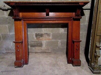 ~ Antique Carved Oak Fireplace Mantel~ 60 X 50 ~ Architectural Salvage ~