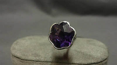 Antique Silver & Facet Cut Glass Amethyst Crystal Set Hat Pin by Charles Horner