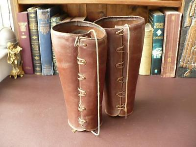 Vintage Ladies Leather Gaiters - Button Up Hand Made Oakleaf Leather Leggings