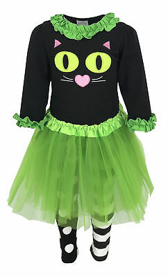 Girls Boutique Halloween Cat Costume with Tutu Outfit 2t 3t 4t 5 6 7 8 years