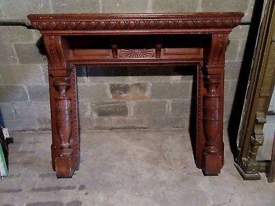 "~  Spectacular Antique Carved Oak Fireplace Mantel~ 42"" Opening ~ Salvage ~"