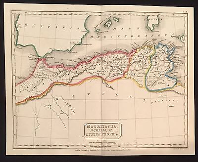 1827 hand-colored MAP of ANCIENT NORTHERN AFRICA Sicily Gibralter MEDITERANNEAN