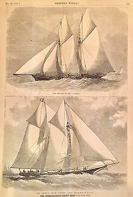 1870 Illustrated newspaper AMERICAS CUP Yacht Racing SAPPHO Cambria ENGRAVING