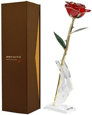 Red Gold Rose, DEFAITH 24K Gold Trimmed Long Stem Real Rose with Moon-shape a