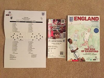 England Vs Slovenia 5/10/2017 PROGRAMME, TEAM SHEET & TICKET