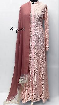 Peach Luxury Lace Jilbab Abaya Fully Lined Open Front