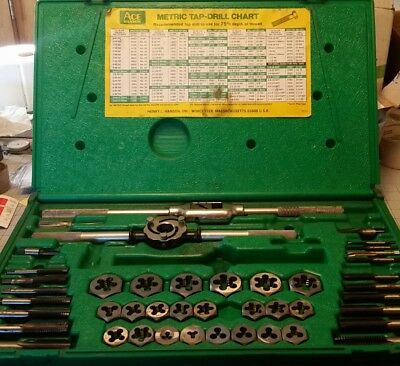 Ace Hanson Metric Tap Drill Chart, Tap and Die Set, Used Industrial