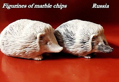 Hedgehogs figurines marble chips Souvenirs from Russia