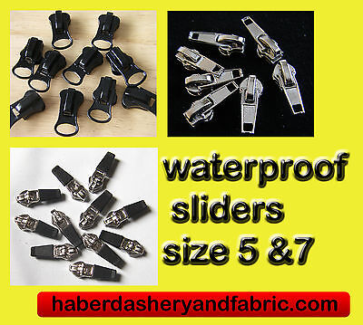 Zipper slider WATERPROOF ZIP No5 or 7 8 BLACK OR SILVER - ZIP PULL Zip Slider