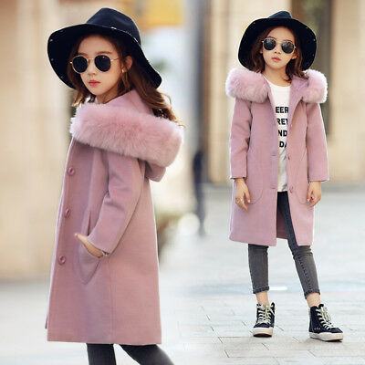 New Kids Girls Pea coat Jacket Fur Hooded Double Breasted Parka Pink Wool X011