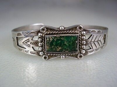 OLD Fred Harvey era STAMPED STERLING SILVER & SQUARE GREEN TURQUOISE BRACELET