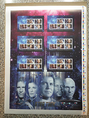 Star Trek 2017 Canada Post uncut press sheet featuring the 5 Captains - limited