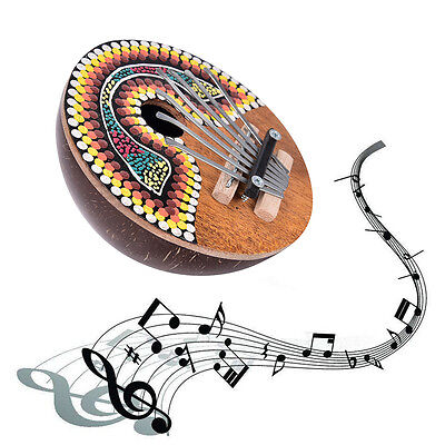 Thumb Piano 7 Keys Tunable Coconut Shell Painted Musical Instrument Hot Sale AB