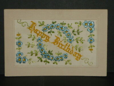 "WW1 - Patriotic Silk Card  ""Happy Birthday"""
