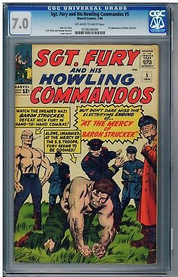 Sgt.Fury and His Howling Commandos #5 CGC 7.0  1st Baron Strucker  FREE SHIPPING