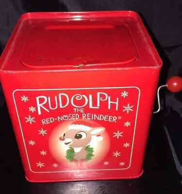 Gemmy Christmas Decor Musical Rudolph The Red Nosed Reindeer Jack In The Box