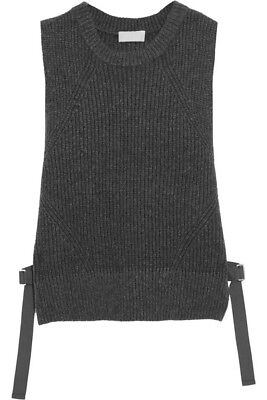 DKNY Women's Tie-Side Ribbed Wool-Blend Vest, Charcoal, P/S