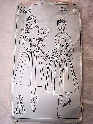 VINTAGE 40-50s STYLE 749  FITTED DRESS FULL GATHERED SKIRT 34