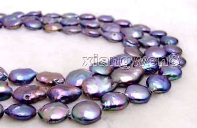 SALE 12-13mm Coin Round Natural Black FW Pearl Loose Beads Strand 14'' - los725