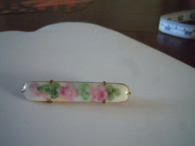 Vintage handpainted porcelain and brass bar pin