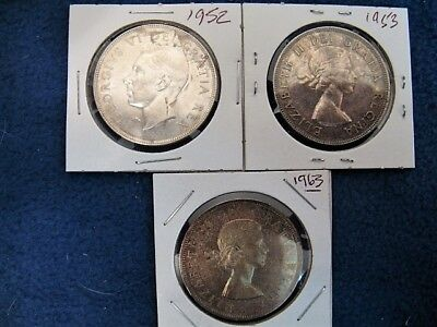 Lot of 3 Canadian Silver Dollars 1952, 1953 & 1963 - 80% Silver