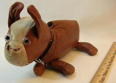 1930s-40s Character Leather Bulldog Coin Purse with Glass Eyes - Just Too Cute