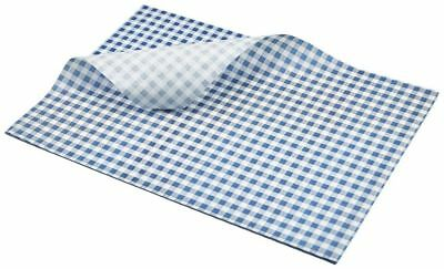 Greaseproof Paper Sheets Blue Check Burger Wrap Large 35 x 25cm (1000 sheets)