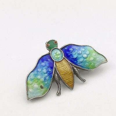 Antique Art Deco Solid Silver Enamel Chester Bug Brooch Beetle Butterfly