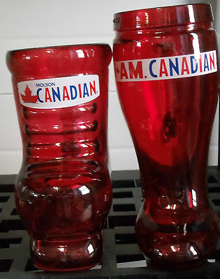 Molson Canadian Beer Skate & Boot 32 oz. Red Glass Steins Mugs I Am Canadian