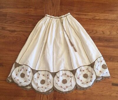 Vintage Cream And Beige Embroidered Knitted Skirt Women's Size Small