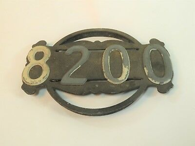 "Vintage Architectural Salvage Address House Number Distressed Metal Sign ""8200"""