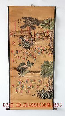 Old Collection Scroll Chinese Painting / 100 Children Were Playing  (百子图)FG012