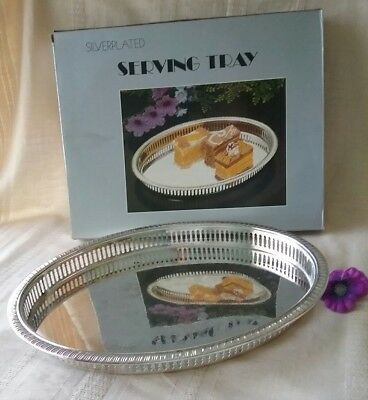 Silver plated serving drinks tray oval NEW  galleried sides stunning
