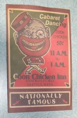 RARE VINTAGE Coon Chicken Inn Black Americana Restaurant Menu Seattle Washington